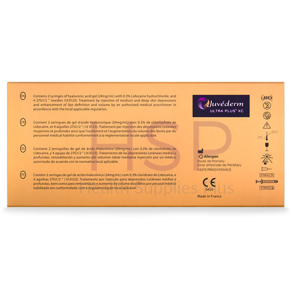 Picture shows box with JUVEDERM® ULTRA PLUS XC 2x1mL 2 pre-filled syringes
